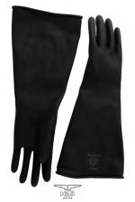 Gants type industriel en latex : Une solide paire de gants noir en latex de caoutchouc pour un look industriel et les pratiques BDSM les plus extrêmes.
