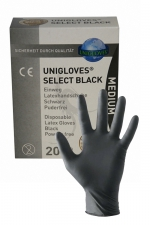 20 gants en latex jetables - Mister B : Pack de 20 gants chirurgicaux ambidextre en latex noir, taille small, medium ou large, par Mister B.