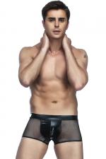 Boxer homme en résille : Mélange de matière et look super sexy avec ce boxer homme en tissu wetlook et fine résille.