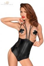 Body seins nus F179 : Body seins nus en wetlook avec zip dans le dos et à l'entre-jambes, avec des bretelles fantaisie.