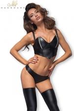 Top sexy F165 zips argent : Top sexy en wetlook avec des zips argentés sur chaque sein.